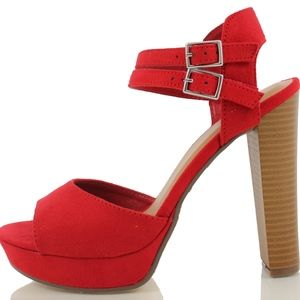 Red open toe double strap Stacked Heel Sandal